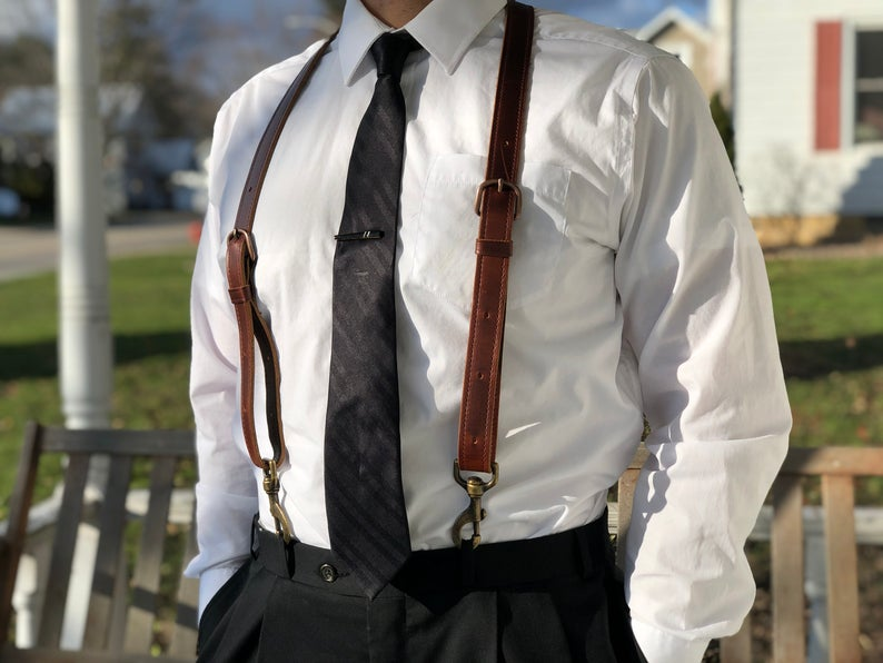 Father's Day Men's Leather Suspenders Gift