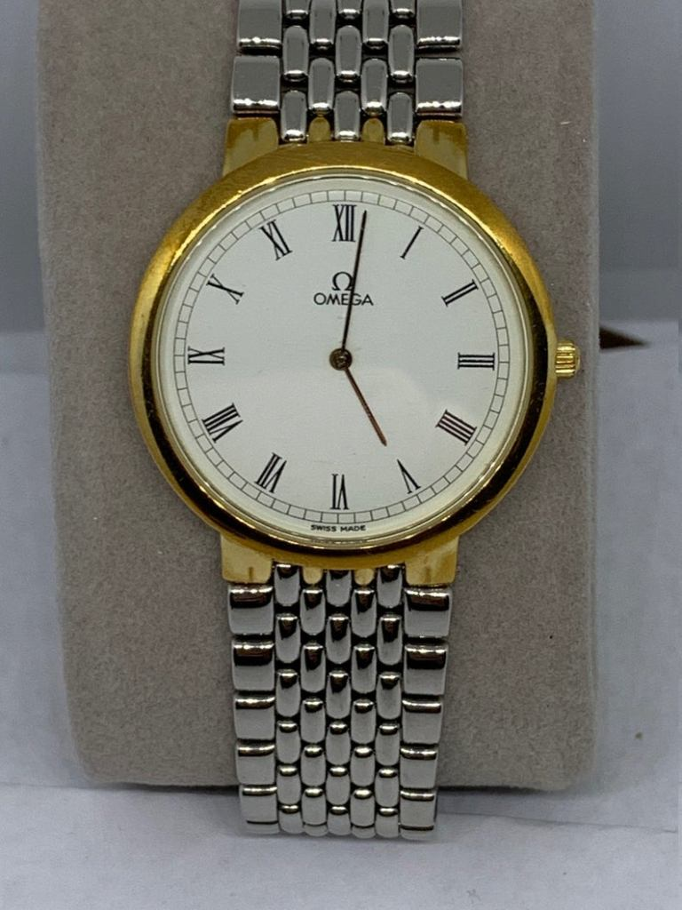 Omega Deville Gold Dial Stainless vintage Quartz Men's Watch Fathers Day Gift