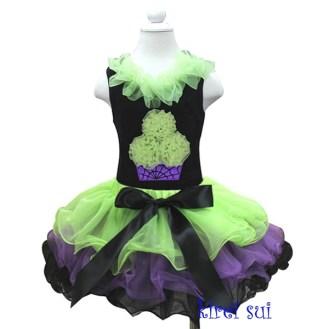 greenpurpleandblackgirlspetalpettiskirtset