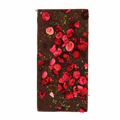 chocoladereep puur met cranberry en munt
