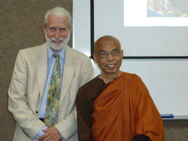 Venerable Dr. Lokananda C. Bhikkhu, the founder of Sambodhi Vihara, with Lewis Lancaster, emeritus professor of the University of California-Berkeley. Photo from Lokananada C. Bhikkhu Facebook