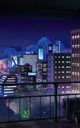 Anime Cityscape Night Buildings Balcony Stars Lo Fi City Night 1600x2560 Wallpaper teahub io