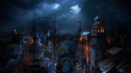 Fantasy Cities Art Hd Wallpaper Fantasy Dark City 1920x1080 Wallpaper teahub io