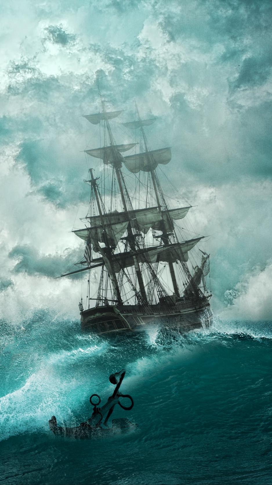 Pirate Ship Storm : pirate, storm, Wallpaper, Ship,, Storm,, Waves,, Anchor,, Photoshop, Pirate, 938x1668, Teahub.io
