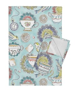 The Orphington-Linen Tea Towel in Afternoon Tea by heatherdutton for Spoonflower.