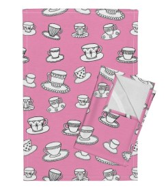 The Orphington-Linen Tea Towel in Pink Teacups by leonielovesyou for Spoonflower.