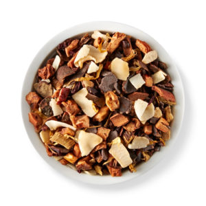 Chocolate-coated caramel, roasted almonds, carob and fleur de sel are blended together for Teavana's Caramel Truffle herbal tea.