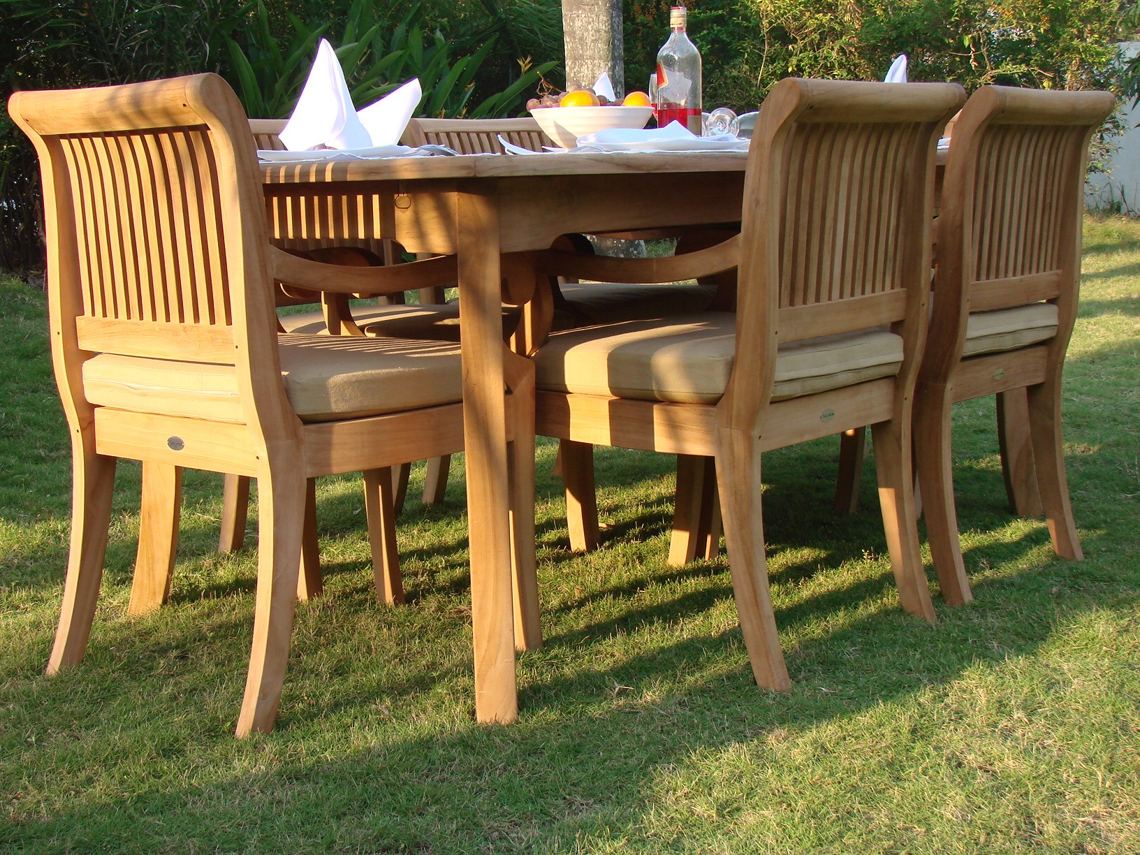 "7-Piece Outdoor Teak Patio Dining Set: 83"" Rectangle Table"