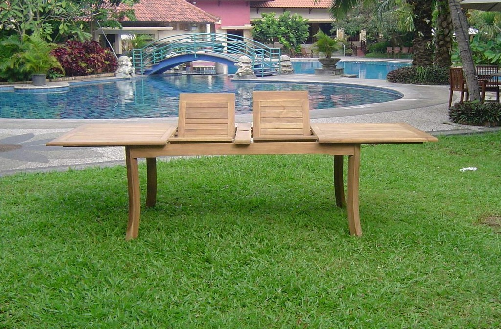 "9-Piece Outdoor Teak Dining Set: 117"" Rectangle Extn Table"