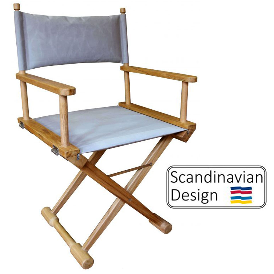 captains chair grey and white teak folding w cushions deck company