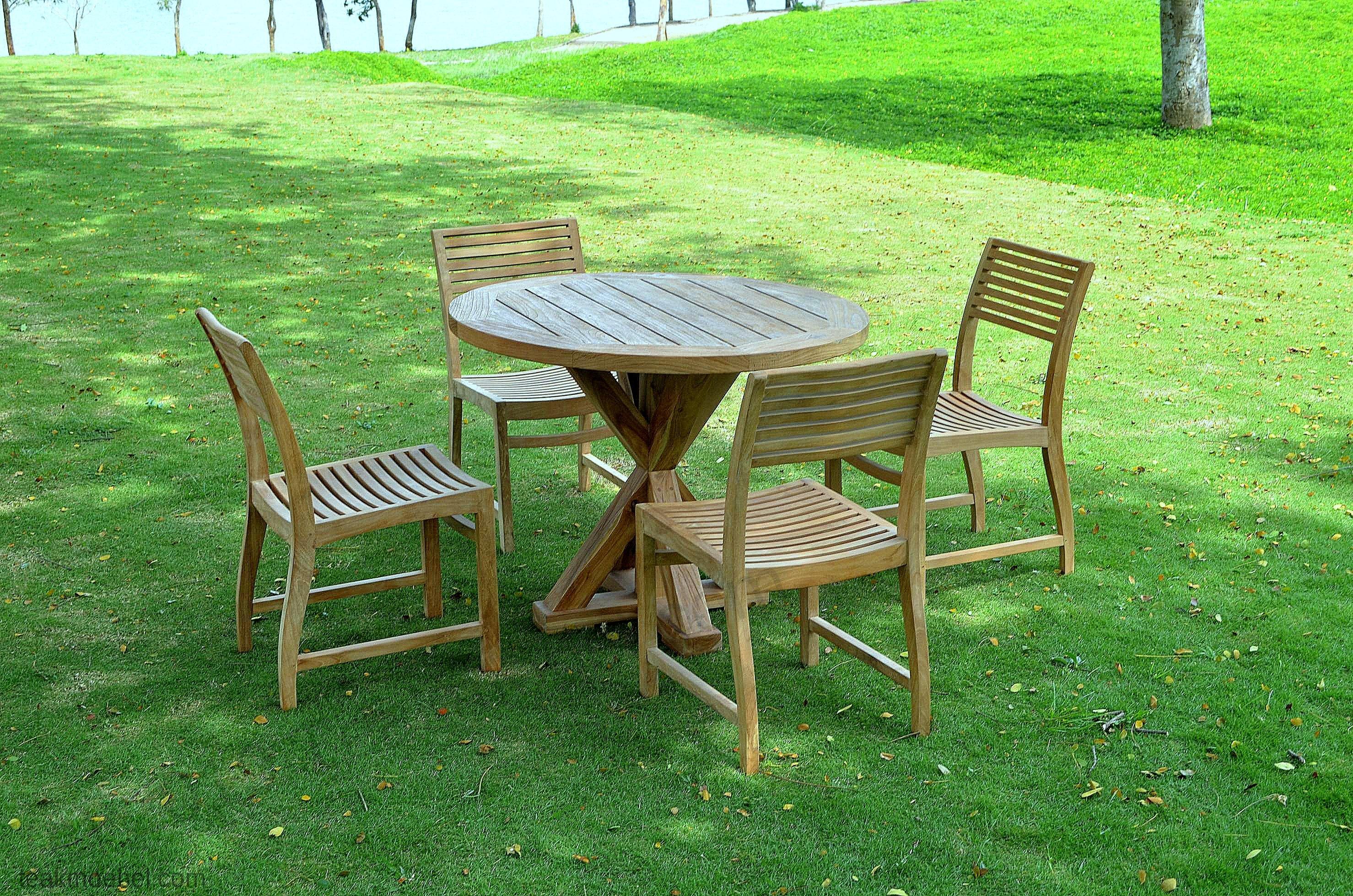 Runder teak Gartentisch 100cm   Teakmöbel.com