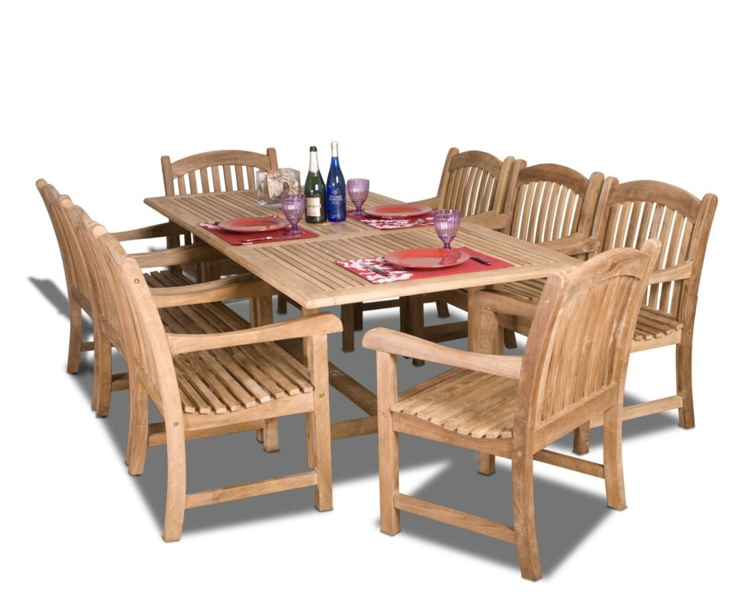 Amazonia Teak Newcastle 9-Piece Teak Rectangular Dining