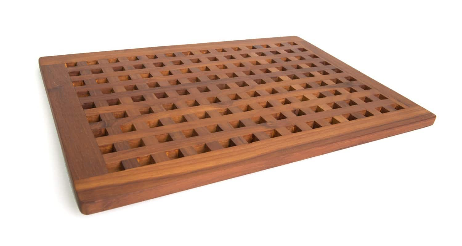 solid teak grate bath shower mat - teak patio furniture world