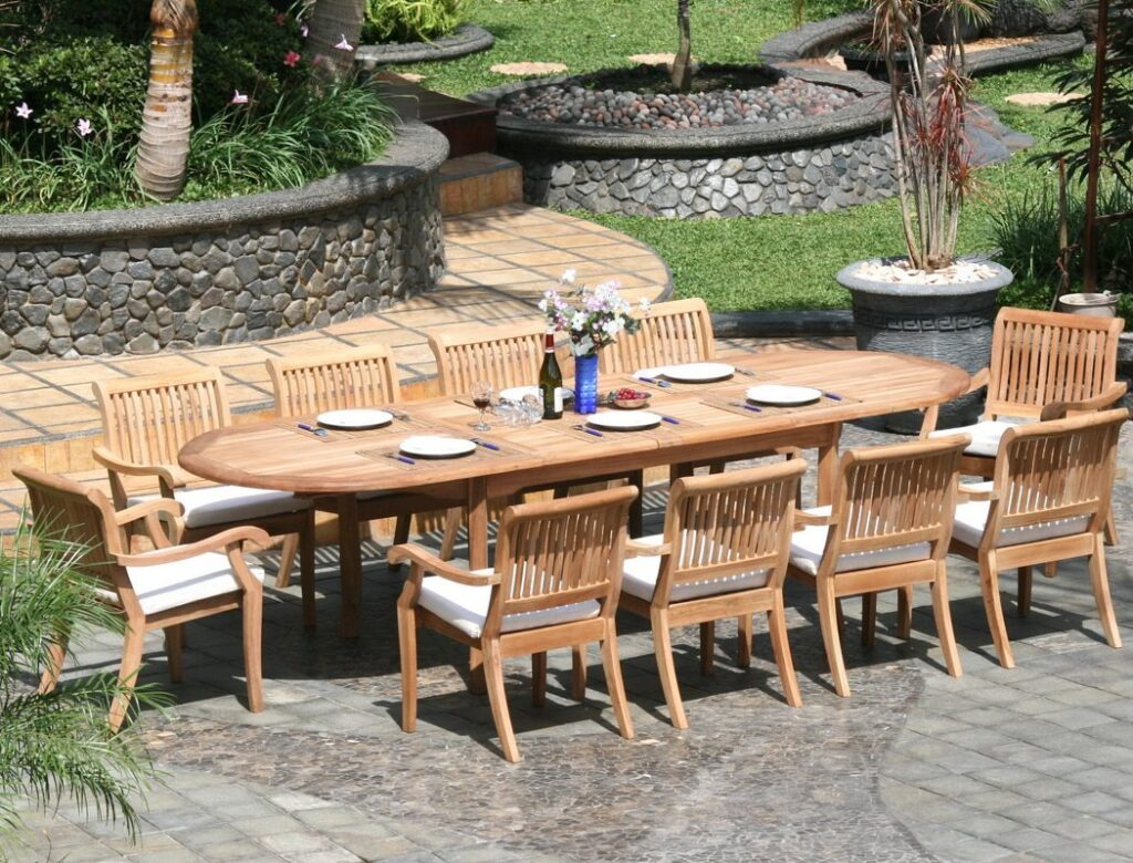 teak table and chairs garden wooden high for sale 11 piece grade a dining set large oval
