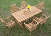 Luxurious 7-piece Grade- Teak Dining Set - Patio