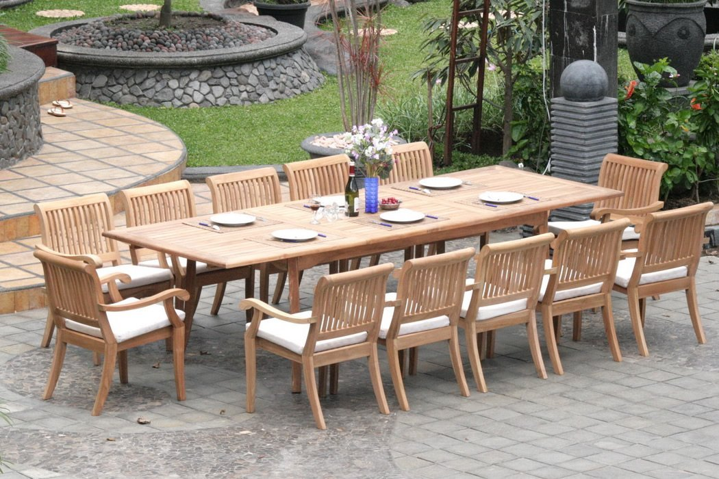 best outdoor dining chairs living room accent with ottomans extending teak patio table vs fixed length pros and 13 piece set