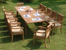 11 Piece Grade- Teak Dining Set - Large Oval Table And