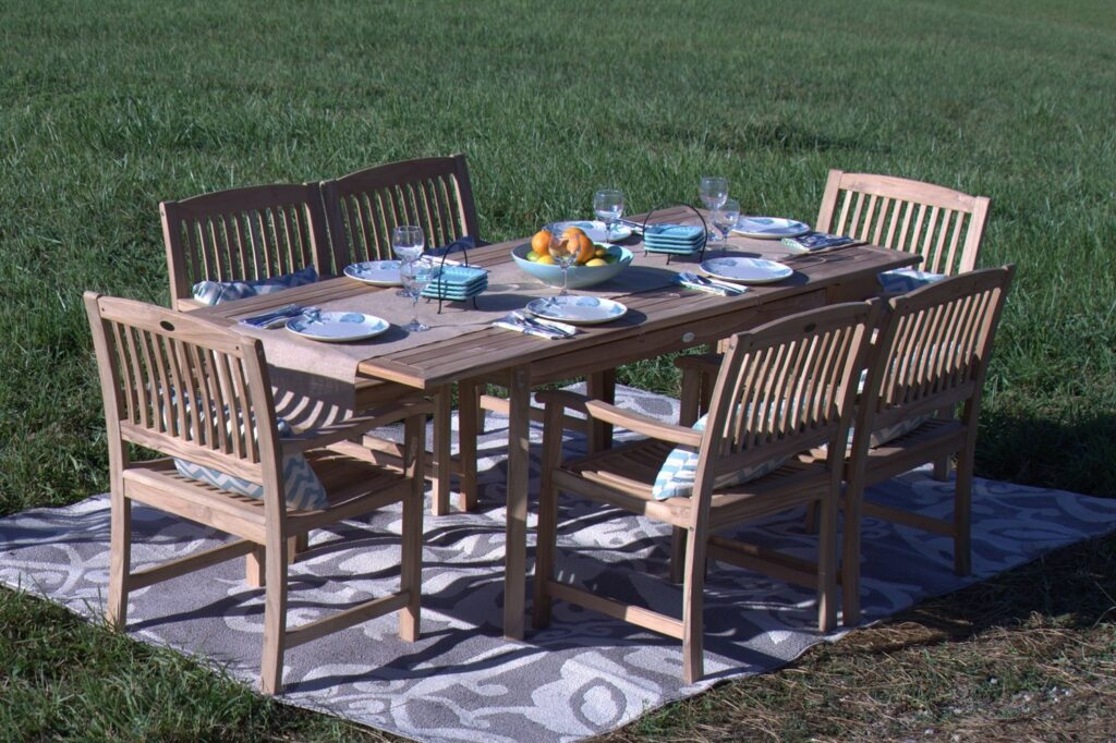 Pebble Lane Living 7 Piece Teak Wood Patio Dining Set
