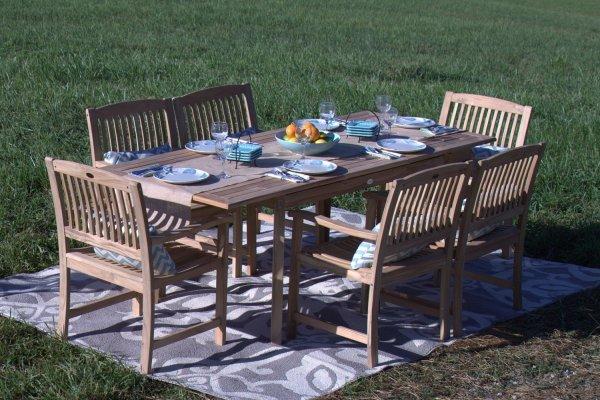 teak wood patio furniture set Pebble Lane Living 7-Piece Teak Wood Patio Dining Set Review - Teak Patio Furniture World