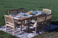 Pebble Lane Living 7-Piece Teak Wood Patio Dining Set ...