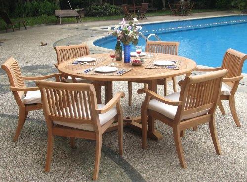 "teak wood patio furniture set Wholesale Teak 7-Piece Teak Dining Set with 60"" Round"