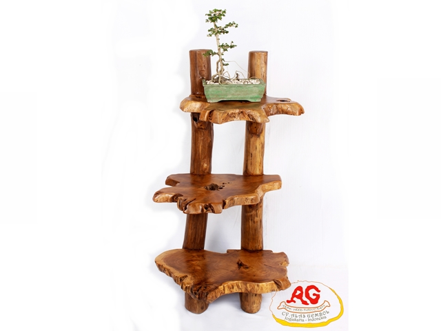 Teak root shelf