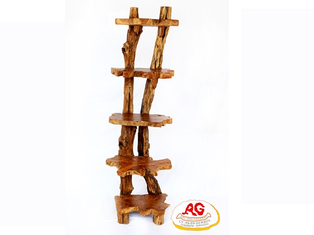 large teak root shelf