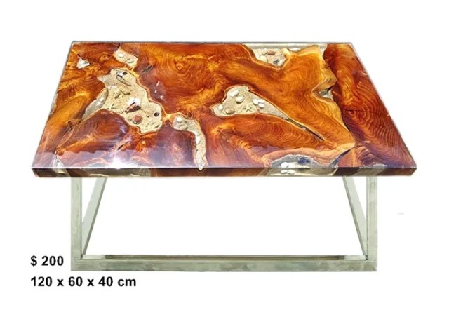 Teak Root Resin Table w/ sand
