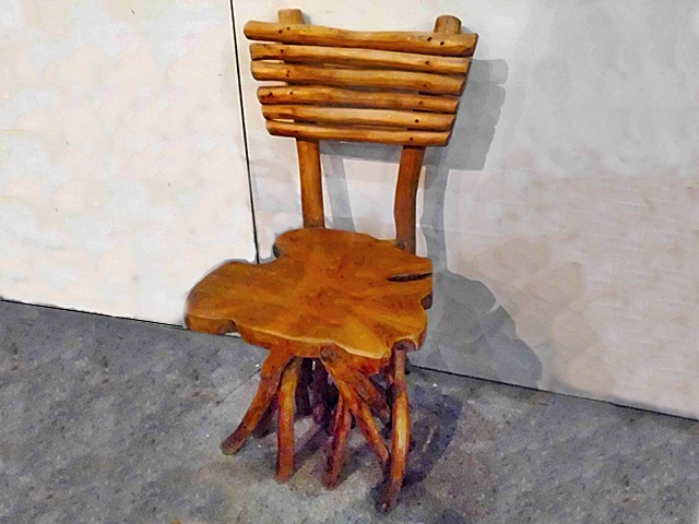 Irregular Teak Chair Slat Back