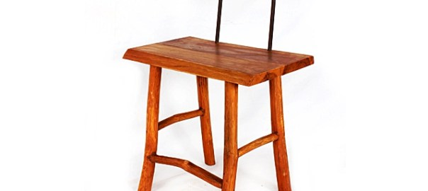 Square Teak Chair Back Iron