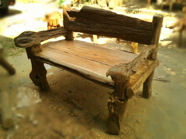 Teak Bench Natural Back