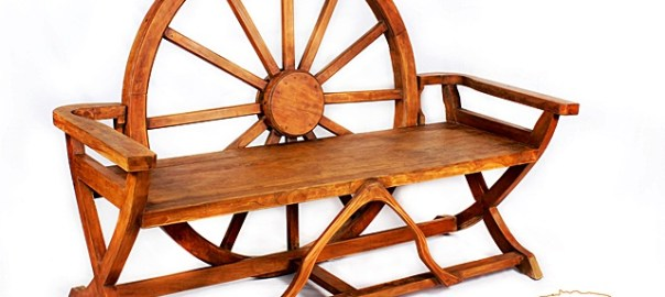 Wheel Cart Teak Bench