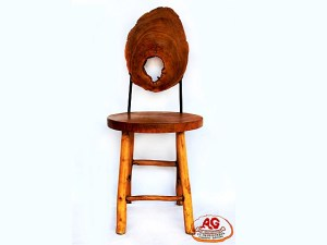 Round Teak Chair Back Iron