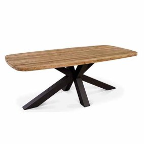 The Belgian Cross Table - A Reclaimed Teak Outdoor Dining Table with Powder Coat Aluminum Legs