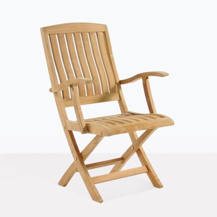 teak folding chair stool garden como arm outdoor dining patio seating classic