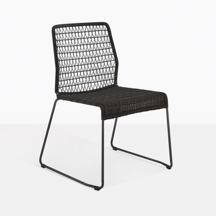 black side chair how much is an x rocker gaming edge wicker dining restaurant seating teak and steel