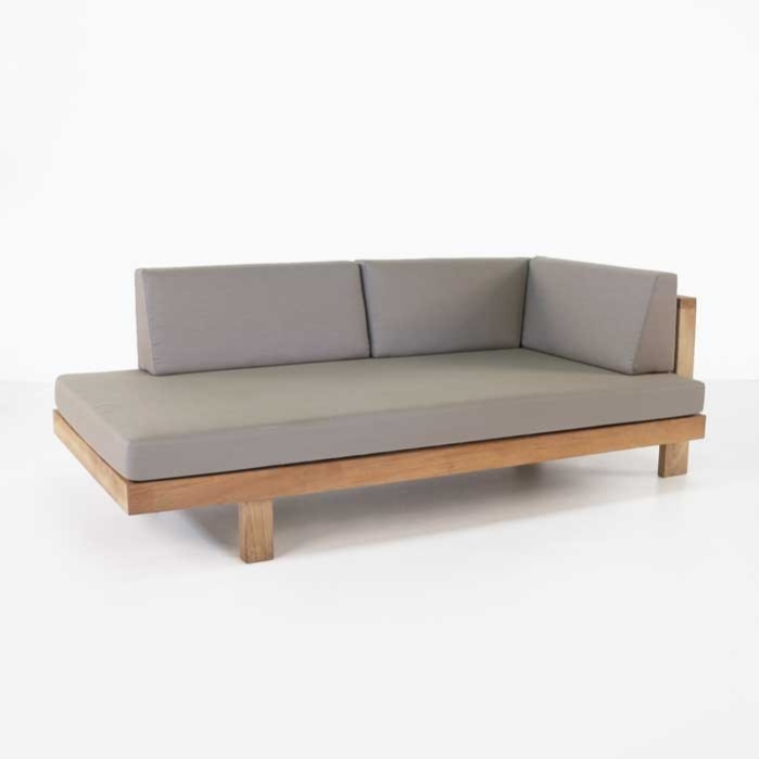 Cabo Teak Outdoor Daybed Left Arm  Patio Lounge Seating