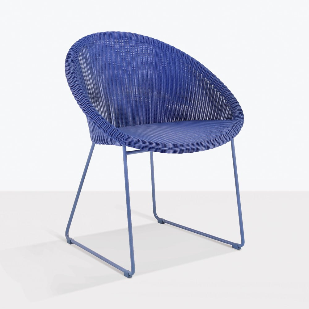 Outdoor Wicker Dining Chairs Metro Outdoor Wicker Dining Chair Blue