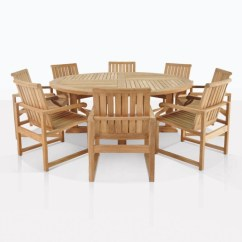 Round Table 8 Chairs Desk Chair Swivel Teak Dining Set Capri Wood Cafe For