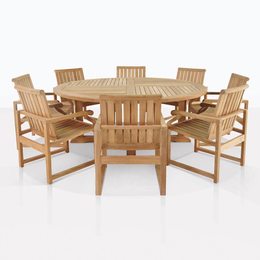 8 Chair Dining Set Teak Dining Set Capri Round Teak Dining Table 8 Chairs