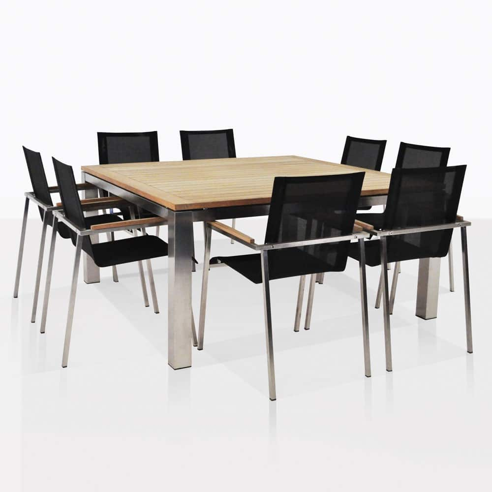 8 Chair Dining Set Stainless Steel Dining Set Square Summer Table With 8 Chairs