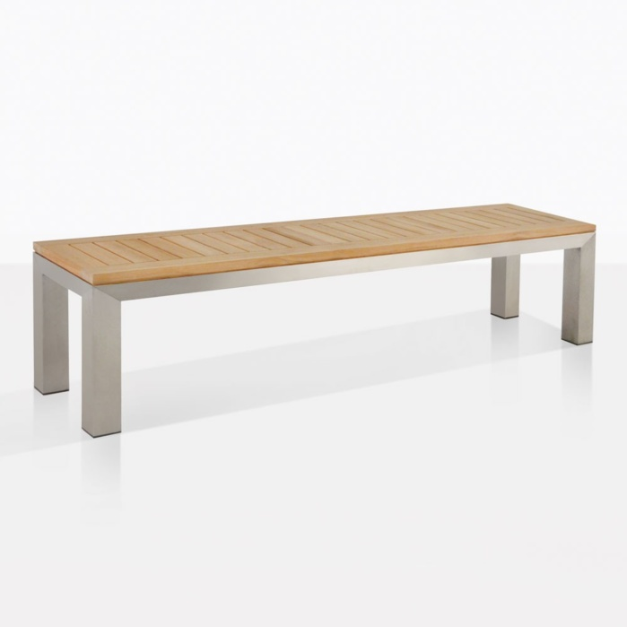 stainless steel and teak backless outdoor bench