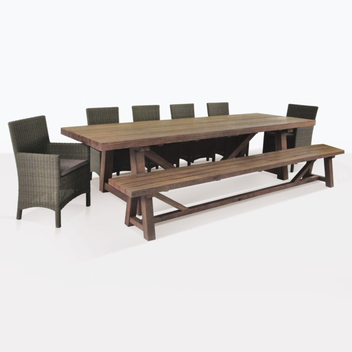 reclaimed teak outdoor dining set with bench 6 petra wicker chairs