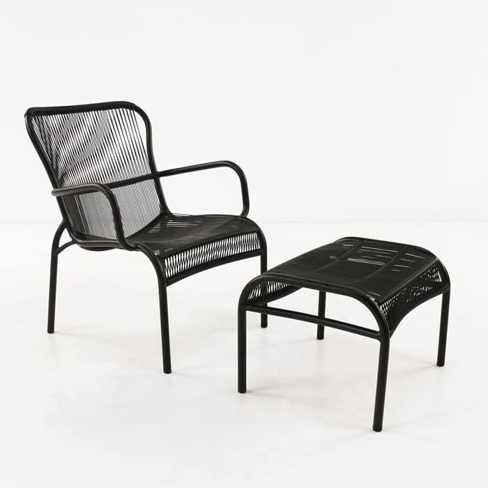 luxe outdoor chair and ottoman black