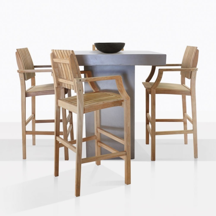 bar chairs concrete rocking chair woodworking plans table and 4 toscana arm set teak warehouse
