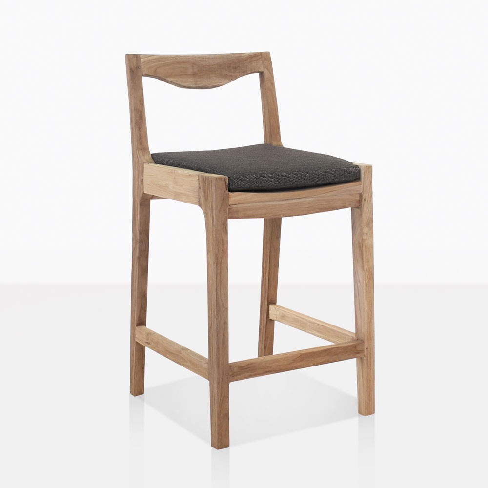 curve reclaimed teak counter stool