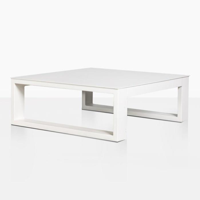 mykonos aluminum square coffee table white