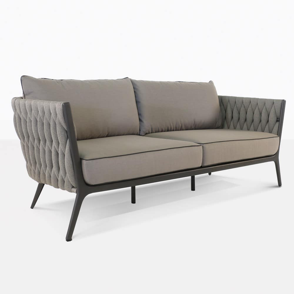 Bianca Outdoor Rope Sofa  Aluminum and Woven Patio Couch