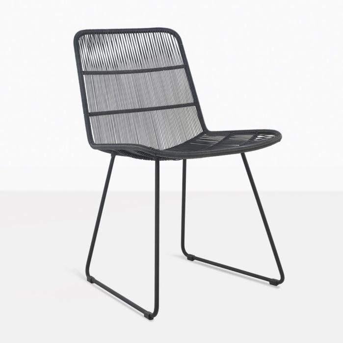 black side chair orange leather chairs nairobi woven dining outdoor wicker teak warehouse modern