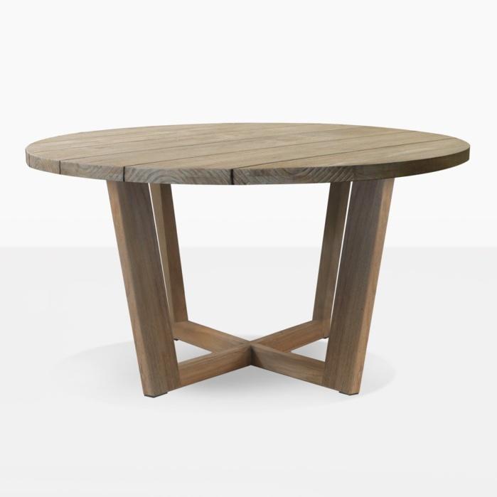 coco teak round outdoor dining table honey